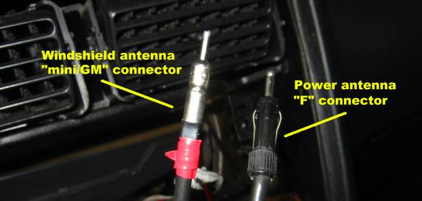 Power and windshield antenna plugs